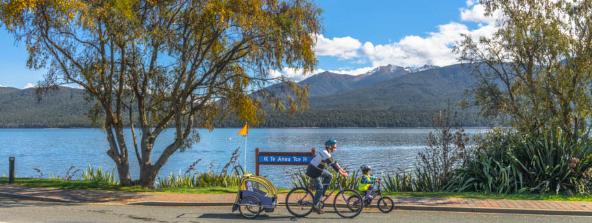 Cycling- riding bicycle, Te Anau, Fiordland